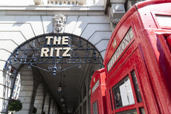 Detail of the Ritz hotel with red phone booth Stock Image