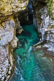 Detail of river Soca gorge in slovenian Alps Royalty Free Stock Images