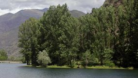 Detail of the riverside. Time Lapse. Detail of the river with the trees and the water surface moved by the wind, mountains and cloudy sky background. Time Lapse stock footage