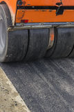 Detail of road roller during asphalt patching works 4 Royalty Free Stock Image