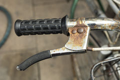 Detail of roasted handlebar and brake of an old, vintage bicycle Stock Photo