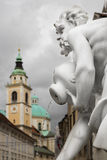 Detail of Robba Fountain at Town Square, Ljubljana Stock Image