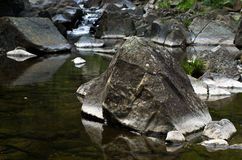 Detail of rocks in water at Black river gorge Royalty Free Stock Photography