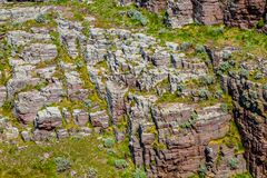 Rocky Wall. Detail of a rocky wall specific for the Brittany coastline in North of France Stock Photos