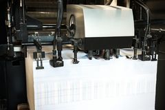 Detail of rollers in offset printing machine. Offset machine. Modern printing house Royalty Free Stock Photography