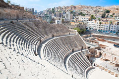 Detail of Roman amphitheater in Amman,  Jordan Stock Photos