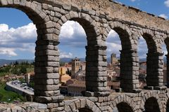 Roman aqueduct of Segovia royalty free stock image