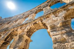 Detail of The Roman Arena in Pula. Detail of The Roman Arena in Pula, Croatia Royalty Free Stock Photos