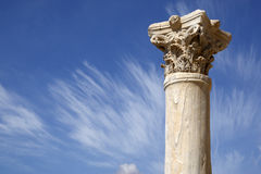 Detail of a roman column. At kourion cyprus mediterranean Royalty Free Stock Images