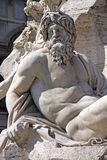 Detail of Roman Fountain in Piazza Navona square, Rome, Italy. Stock Photos