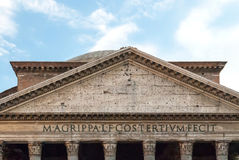 Detail of the Roman Upper Portico and pediment lettering II. Detail of the Roman Upper Portico and pediment lettering reading Marcus Agrippa, son of Lucius, made Stock Images