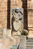 Detail of Romanesque church of San Pedro de Almocovar, Alcantara stock images