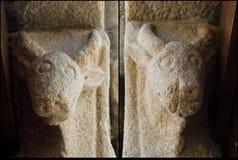 Detail of Romanesque church Santiago de Taboada stock photography