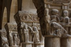 Detail of the Romanesque cloister Stock Images