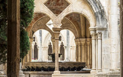 Detail of a romanesque cloister Royalty Free Stock Photos