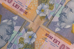 Detail of Romania Lei  money Royalty Free Stock Photo