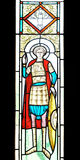 Detail of romania stained glass of orthodox church Royalty Free Stock Images