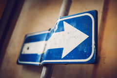 Detail of Rome city, Italy. Bended traffic sign Stock Photography
