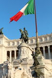 Detail of the Rome war memorial. Statues on the gigantic building.  It is called Vittorio Emanuele II monument and it was built in honor of the first world war Royalty Free Stock Images