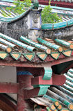 Detail of roof and eave, Chinese old architecture. Featured colored roof and eave of a Chinese old temple, shown as traditional architecture and decoration style Stock Photo