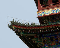 Detail of Roof Figures on the Main Gate into Ancient Beijing. The number of roof figures or guardians indicates the importance of a building Royalty Free Stock Image
