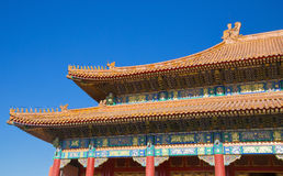 Detail of a roof at the Forbidden City, Beijing. Architectural detail of a temple at the Forbidden City, Beijing, China Royalty Free Stock Images