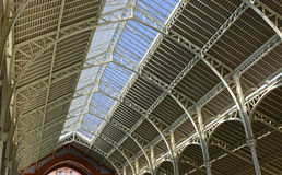 Detail of roof interior on shopping mall. Valencia, Spain. Detail of roof interior on Columbus Market small shopping mall and market (Mercado de Colon) in Stock Photos