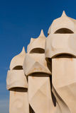 Detail of the roof of La Pedrera Stock Photos