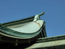 Detail of the roof line of Meiji Shrine, Tokyo, Japan. Detail of the roof and copper roof tiles of the Meiji Shrine Meiji Jingo in Tokyo, Japan stock photos