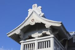 Detail of the roof of the Niomon Gate at Honmyo-ji Temple is being rebuilt after the earth. Kumamoto, Japan - November 13, 2018: Detail of the roof of the Niomon stock images