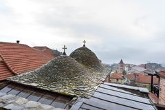Detail from the roof on an old house in Holy mountain Athos in Greece stock photo