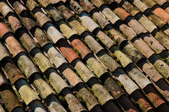 Detail of a roof with old tiles Stock Photos