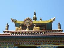 Karma Tharjay Chokhorling Tibetan Monastery Bodh Gaya India. Detail of roof top decorative painting at the Karma Tharjay Chokhorling Tibetan Monastery, Buddhist Royalty Free Stock Image