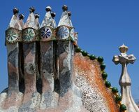 Detail of the rooftop of Casa Batllo in Barcelona stock images
