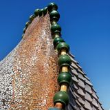 Detail of the rooftop of Casa Batllo in Barcelona royalty free stock photography