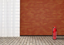 Detail of room with red brick wall. Stock Photos