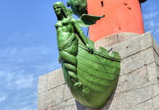 Detail of Rostral Column on the spit of Vasilevsky Island. In St. Petersburg, Russia Stock Photos