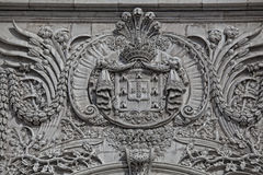 Detail of the Rua Augusta Arch, a stone triumphal arch-like in L Royalty Free Stock Photography