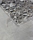 Detail of rubble and concrete on a demolition site Royalty Free Stock Photo