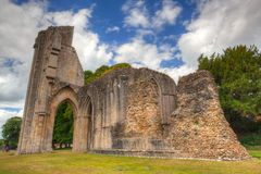 The detail of ruins abbey in Glastonbury Royalty Free Stock Photo
