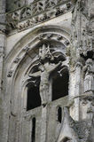 Detail of ruins gothic church. Detail of ruins of gothic church jesus christ scultpture french town abbey complex stone structure Stock Photography