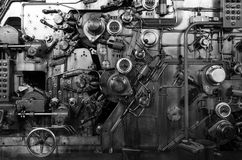 Detail of a rusted machine. In abandoned factory, Black and white tone Royalty Free Stock Images