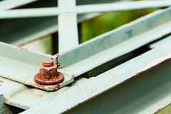 Detail of rusted metal on painted metal parts. royalty free stock photos