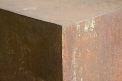 Detail of a rusty steel cube. View to edge of a platform constructed as a hexahedron steel cube Stock Photography