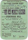 Detail of 1960`s british railway ticket. 1965 british railway ticket, showing destinations and price Stock Photo