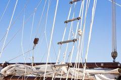 Detail of sailboat rigging and ladder Royalty Free Stock Images