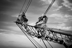 Detail of a sailing ship Stock Photos