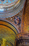 Detail of a saint in the interior of an old church. In downtown Quito, Ecuador Royalty Free Stock Photo
