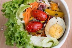 Detail of salad with lettuce, tomato, egg and sesame sauce, clea Royalty Free Stock Image