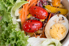 Detail of salad with lettuce, tomato, egg and sesame sauce, clea Stock Photos